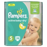 PAMPERS Active baby-dry 5 JUNIOR 11-18 kg plienky 28ks
